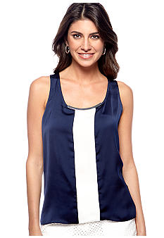 DKNYC Sleeveless Top with Contrast Panel and Metal Trim