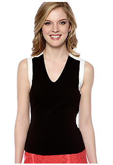 DKNYC Sleeveless Peplum Top with Leather Yoke and Trim