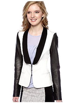 DKNYC Long Sleeve Shawl Collar Blazer with Leather Sleeves