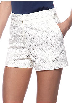 DKNYC Eyelet Shorts with Stretch Twill Panels