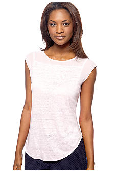 DKNYC Cap Sleeve Top with Chiffon Trim