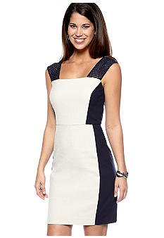 DKNYC Basket Weave Sheath Dress with Ponte Sides