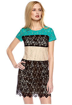 DKNYC Short Sleeve Color Block Dress with Scalloped Hemline