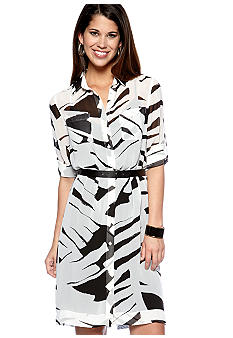 DKNYC Shirt Dress with Self Tie Belt