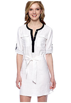 DKNYC Contrast Trim Linen Dress with Self Tie Belt