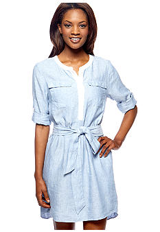 DKNYC Contrast Trim Linen Dress with Roll Tab Sleeves and Self Tie Belt