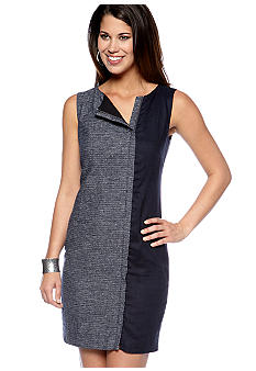 DKNYC Shift Dress with Contrast Panels and Front Zipper