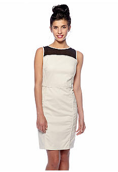 DKNYC Sheath Dress with Mesh Panels and Cut Out Back