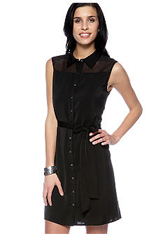 DKNYC Sleeveless Button Up Dress with Mesh Yoke