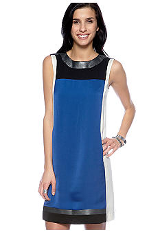 DKNYC Satin Color Block Shift Dress
