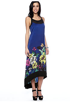 DKNYC Floral Print Dress with Hi Low Hem