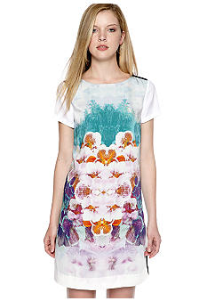 DKNYC Short Sleeve Floral Print Dress with Contrast Back