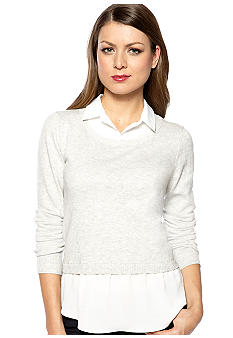 DKNYC Long Sleeve Pullover Sweater with Faux Blouse
