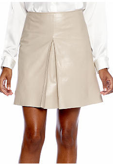DKNYC Pleat Front Leather Mini Skirt