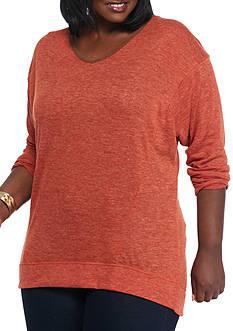 New Directions Plus Size Suede Trim V-Neck Sweatshirt