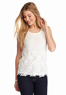 New Directions Crochet Lace Overlay Tank