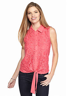 New Directions Crochet Lace Tie Front Top