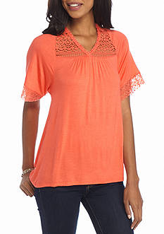 New Directions Solid Lace Yoke Top