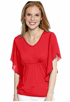 New Directions Weekend Solid Bat Wing V Neck Slub