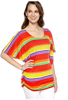 New Directions Weekend Stripe Dolman Flutter Sleeve Top