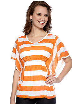 New Directions Weekend Stripe Batwing V Neck Top