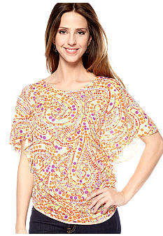 New Directions Weekend Dot Print Knit Top