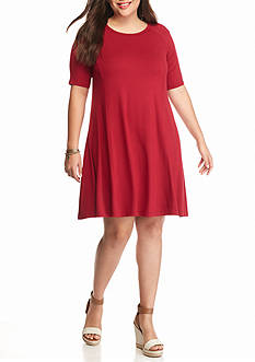 New Directions Plus Size Knit Swing Dress