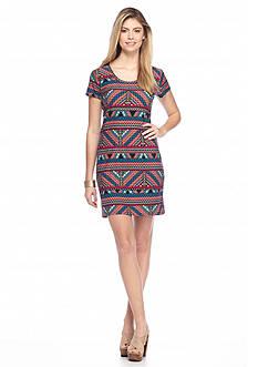 New Directions Aztec Print U-Neck Dress