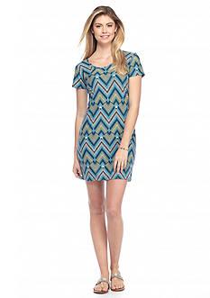 New Directions Chevron Print U-Neck Dress