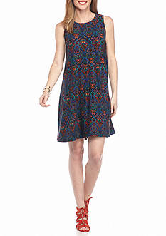 New Directions Printed Knit Swing Dress