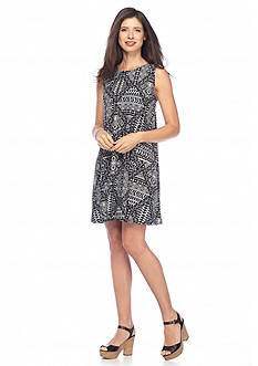 New Directions Geo Printed Knit Swing Dress