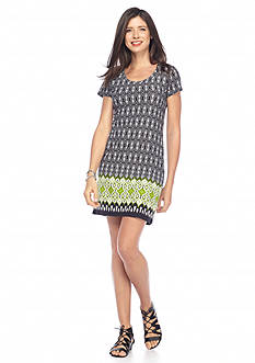 New Directions Abstract Geo Print U-Neck Dress