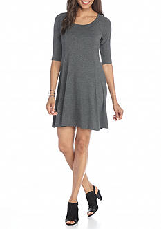 New Directions Solid Swing Dress