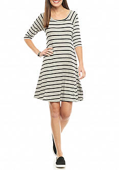 New Directions Stripe Knit Swing Dress