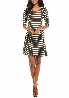 New Directions Stripe Knit Swing Dress