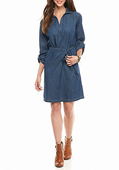 New Directions Tie Front Jean Shirt Dress