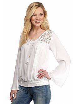 New Directions Smocked Hem Lace Trim Top