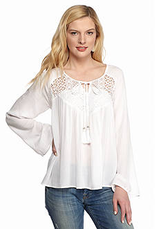 New Directions Solid Lace Yoke Blouse