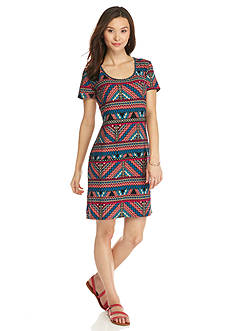 New Directions Petite Aztec Printed Knit Dress