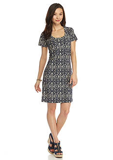 New Directions Petite Geo Printed Knit Dress