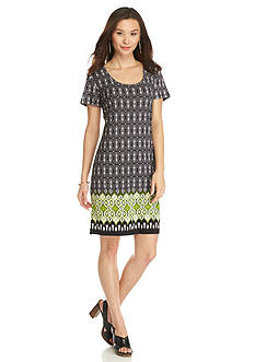 New Directions Petite Border Printed Knit Dress