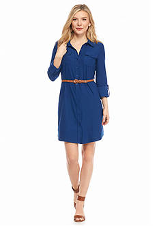New Directions Petite Belted Knit Shirtdress