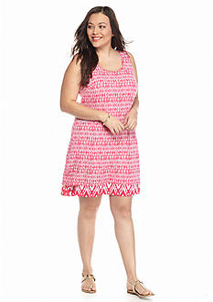 New Directions Weekend Plus Size Reversible Tribal Tank Dress