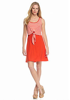 New Directions Stripe Popover Tie Front Overlay Dress