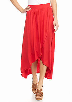New Directions Solid Tulip High Low Skirt