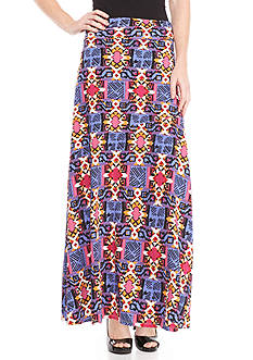 New Directions Printed Asymmetrical Maxi Skirt