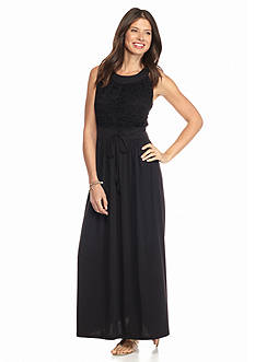 New Directions Petite Crochet Maxi Dress