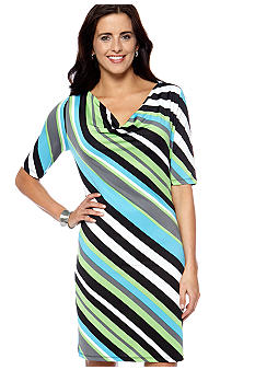 New Directions Stripe Drape Neck
