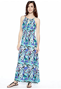 New Directions Petite Printed Halter Maxi Dress with Keyhole Neckline
