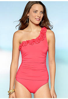Kenneth Cole Haute Wave One Shoulder One Piece Swim Suit